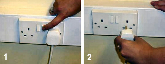 Switch off cooler and unplug